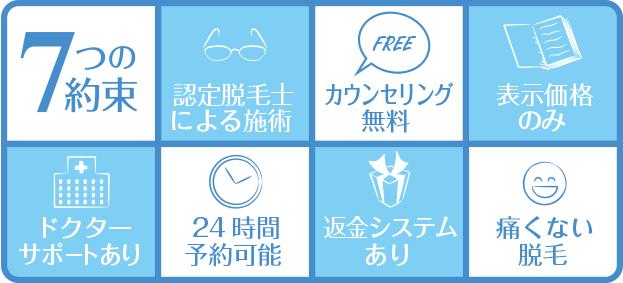 キレイモ 渋谷 7つの約束でお客様が安心して通えるよう工夫しています。