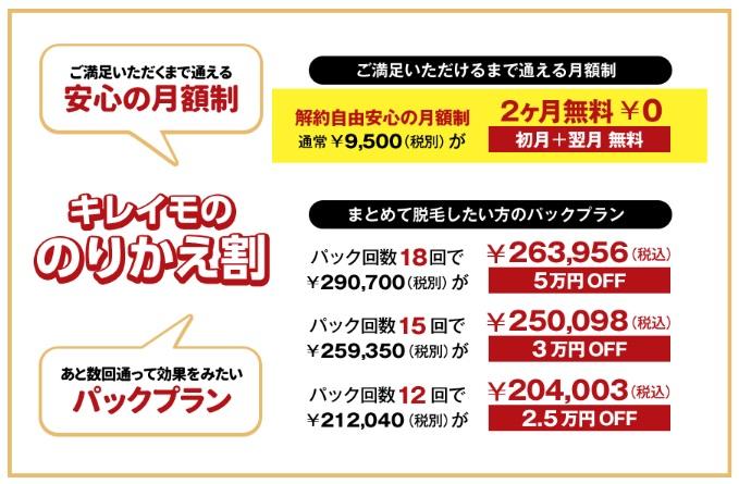 キレイモ渋谷道玄坂店、キレイモ渋谷宮益坂店の乗り換え割詳細